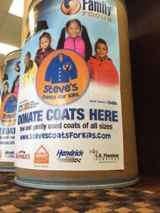 Steve's Coats Donation Location Close Up ERP